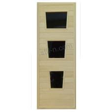 """Дверь банная из липы со стеклом """"ДО-7"""" коробка сосна"""