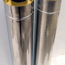 Дымоход Сэндвич нерж.+оцинк. сталь D-150х230 мм. L- 1,0 м. толщина 0,5 мм.