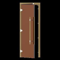 Дверь SAWO 741-3SGD-L-3 (7/19, бронза, левая, без порога, кедр, прямая ручка с металлической вставкой)