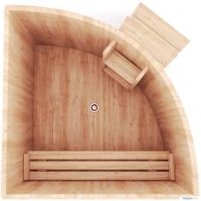 Купель угловая из кедра (D- 110x110 см. H- 120 см.)