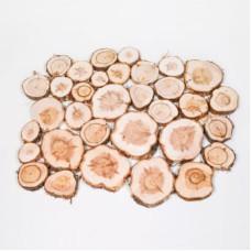 Спилы можжевельника с корой, шлифованные, диаметр 2-15 см