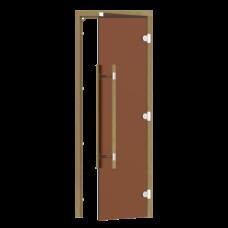 Дверь SAWO 741-3SGD-R-3 (7/19, бронза, правая, без порога, кедр, прямая ручка с металлической вставкой)