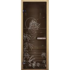 """Дверь Бронза """"ЛАГУНА"""" 1900х700 мм. кор.бук стекло 8 мм."""
