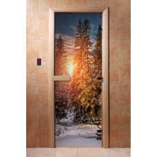 """Дверь с Фотопечатью АКМА """"Зимний лес"""", 1900x700, стекло 8 мм"""