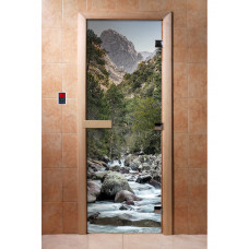 """Дверь с Фотопечатью АКМА """"Горная река"""", 1900x700, стекло 8 мм"""